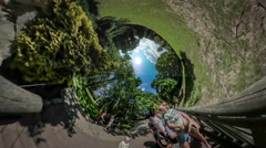 360Vr Video People at Excursion Botanic Garden Opole Park Standing on - stock footage