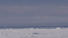 Slow motion - Whale spouts in distance at ice edge on sunny day Stock Footage