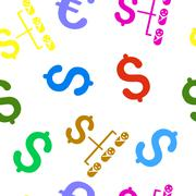 Baby Budget Flat Vector Seamless Pattern - stock illustration