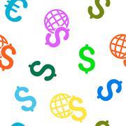 Global Economics Flat Vector Seamless Pattern - stock illustration