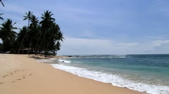 View to the sandy beach in Galle, Sri Lanka. Stock Footage