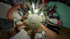 360Vr Video Kids at Kindergarten Graduation Opole Kids Grimacing in Front of - stock footage