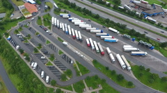 Highway rest area, aerial view Stock Footage