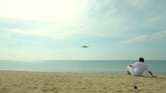 Airplane is landing. Jet coming in to land Stock Footage