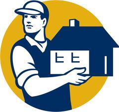 Mover Handling House Circle Retro - stock illustration