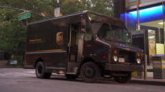 UPS delivery truck stopped on city streets of New York 4k Stock Footage