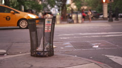 Trash bin on intersection corner in downtown New York City 4k Stock Footage