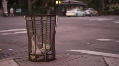Downtown city intersection with trash can on corner 4k Stock Footage
