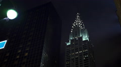 Chrysler building at night in New York City 4k Stock Footage