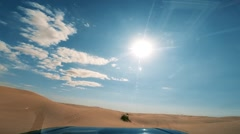 Camera car in the sahara desert driver pov Stock Footage