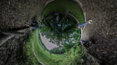 360Vr Video People at Excursion Zoo Opole Park Botanic Garden Walking in a Line - stock footage