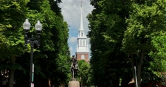 Establishing Shot of Paul Revere Statue Near Old North Church  	 Stock Footage