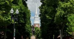 Establishing Shot of Paul Revere Statue Near Old North Church   Stock Footage