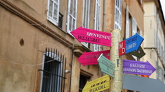 Signboard on the street with signpost directions in Aix-en-Provence, France Stock Footage