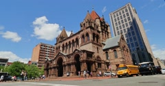 Trinity Episcopal Church in Boston Establishing Shot Stock Footage