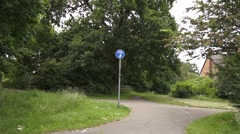 Cycle Path with Cycle Path Sign Stock Footage
