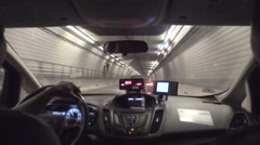 Passenger's Backseat View Inside a Taxi in a Boston Tunnel  	 Stock Footage