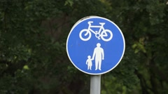 Cycle Path Sign with people symbols Stock Footage