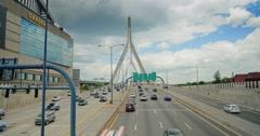 Traffic on the Leonard P. Zakim Bunker Hill Bridge   Stock Footage