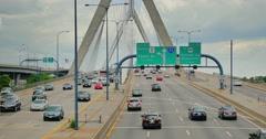 Leonard P. Zakim Bunker Hill Bridge Traffic Establishing Shot  Stock Footage