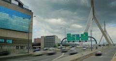 Timelapse View of Traffic on the Leonard P. Zakim Bunker Hill Memorial Bridge Stock Footage