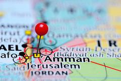Amman pinned on a map of Jordan Stock Photos