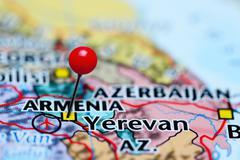 Yerevan pinned on a map of Armenia - stock photo