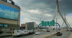 Leonard P. Zakim Bunker Hill Memorial Bridge Traffic Establishing Shot  Stock Footage