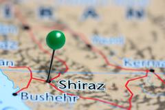Shiraz pinned on a map of Iran Stock Photos