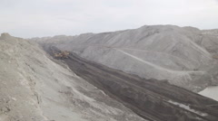Open pit mining, development of trench excavator dragline Stock Footage
