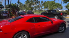 Red sports car in Miami Beach Slow Motion Stock Footage