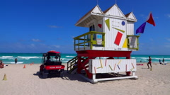 Rescue House at Miami Beach - slow motion scene - stock footage