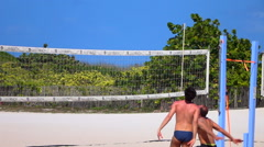 Beach volleyball at Miami Beach in Slow Motion - stock footage