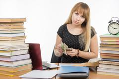 The student said last money to pay a bribe teacher - stock photo