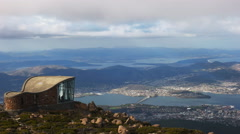 Zoom in shot of hobart from mt wellington Stock Footage