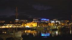 Hobart tasmania waterfront at night Stock Footage