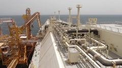 Lng Tanker Docked At The Terminal Stock Footage