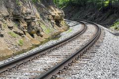 Curving Rails - stock photo
