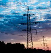 Power Line. pylon against a blue sky Stock Photos