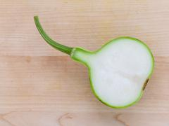 Halved bottle gourd or calabash gourd .The one of the vegetables recommended Stock Photos