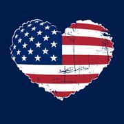 American flag heart grunge Stock Illustration