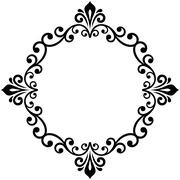 Floral Modern Vector Round Frame - stock illustration