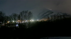 Niseko United Resort Winter Time Lapse Chairlift and Ski Area Night Lights Stock Footage