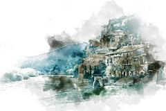 Digital watercolor painting of Miravet village. Province of Tarragona. Spain. Stock Illustration