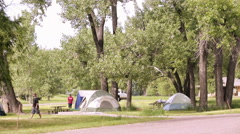 Summer camping at Cherry Creek State Park, Colorado. Stock Footage