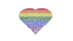 Rainbow heart made by cheerful people Stock Footage