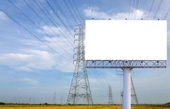 Blank billboard ready for new advertisement in High voltage Power station - stock photo