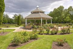 Gazebo and a rose garden in Boise ID. - stock photo