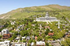Salt Lake City Capitol building and neighborhood. - stock photo