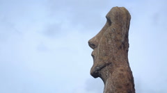Moai statue at Ahu Tongariki profile shot Stock Footage